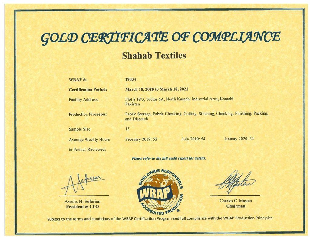 certificate wrap debonair textiles shahab limited